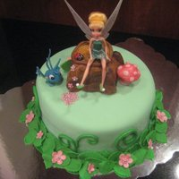 Tink Cake Tink Cake all edible except & the cricket. I wanted her to have something to keep. ALl fondant tree base. Loosely based on a wilton...