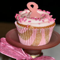 Save The Tata's Event Made these pink velvet cupcakes with a pink candy melt ribbon for a Breast Cancer event