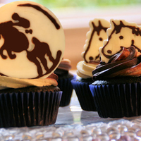 Horse Camp Cupcakes For my daughter's birthday at horse camp. Toppers are done in dark & white chocolate