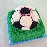Soccer Ball Cake   soccer ball and grass cake for an 8 year old girl's birthday