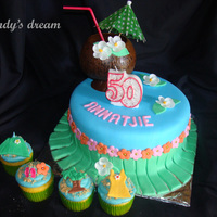 Hawaii Theme Cake And Cupcakes Hawaii theme cake and cupcakes