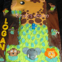 First Birthday - Wild Animals Chocolate cake with BC and Fondant. Haven't seen the photos yet, but I heard the cake was a hit!