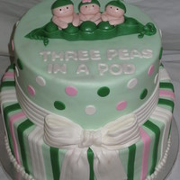 Three Peas In A Pod Cake This cake was done for a triplet baby shower. Inspired by a photo the Mommy to be emailed me.
