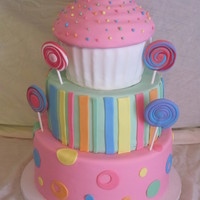 Candy Themed Cake This was a fun Candy Themed cake. Took a few different ideas from a few different cakes that the client liked and this is what I came up...