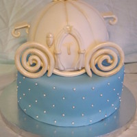 Cinderella Carriage Cake Cinderella Carriage done with a ball pan and gum paste wheels and decorations.