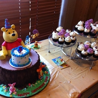 Winnie The Pooh Cake First birthday. The tree trunk is vanilla with a mixed berry swiss meringue. Smash cake is all vanilla. Winnie is RKT.
