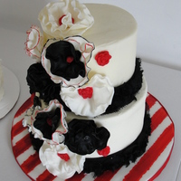 My Daughters Birthday Cake. She loves stripes, loves red and black. together we came up with this.