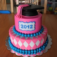 Pink Graduation Cake Cap made from RKT, top is fondant covered cardboard, border is gumballs.