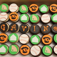 Baseball Cupcakes all handmade with fondant
