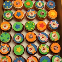 Carnival Birthday Cupcakes all handmade from fondant & sprinkles.