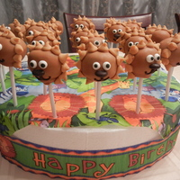 Lion Cake Pops peanut butter candy melts to coat, candy eyes, 1/2 m&m nose, piped dark chocolate for mouth, and butterscotch chips for mane.