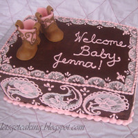A Cake For My Friends Western Themed Baby Shower Its A Strawberry Cake Covered In Chocolate Ganache I Used The Brush Embroidery Techniqu A cake for my friend's western-themed baby shower. It's a strawberry cake covered in chocolate ganache. I used the brush...