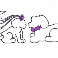 Dog Bride And Groom I sketched this puppy bride and groom for a bridal shower cake I made. The bride loves dogs and the color purple.
