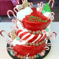 Our Christmas Candy Cake Made this for my husbands Christmas party at work. Peppermint MMF and Candy Canes. Peppermint striped red velvet and vanilla center with...