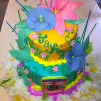Luau Cake All MMF including the flowers. Everything is edible but the silver swirls, gems, and candles. Faux Topsy Turvy :)