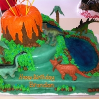 Dinosaur Cake MMF with Cereal Treat Volcano, Dinosaurs are plastic :)