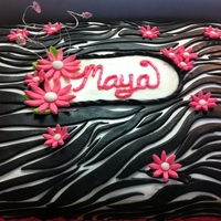 Girly Zebra Cake All MMF over buttercream. Zebra cakes are my favorite to do :)