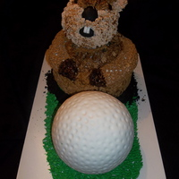 Caddyshack Gopher And Golf Ball  All carrot cake with cream cheese filling. Covered in buttercream. The gopher was piped with royal icing and the golf ball is covered in...