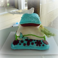 Pillows And Birds Baby Shower Cake  Bottom tier was vanilla wponge cake with strawberry fillking and white chocolate Italian Meringue Buttercream. Middle tier was orange dream...