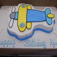 2D Airplane Cake Just simply cut from a sheet cake, drew out the airplane on top to give the client more cake.