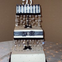 Black And White Beaded Wedding Cake