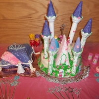 Princess Cake For My Litle Princess G-Daughter I didn't like the way the castle cake turned out so I let my gdaughter (who turned 3) help me decorate it.