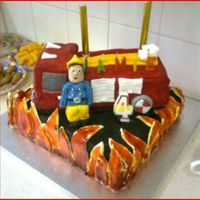Fireman Sam fireman sam cake which had flashing blue and red lights for my sons 4th birthday