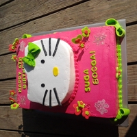 Hello Kitty Hot pink and lime green birthday cake