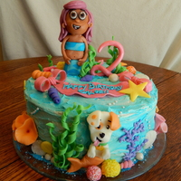 Bubble Guppies Cake  Chloe's Bubble Guppies birthday cake! 10 inch 2 layer round cake, all buttercream and candy clay details! All edible, no fondant!...