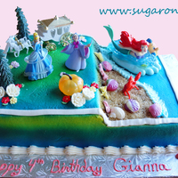Cinderella And Ariel Theme Cake Cinderella Is On The Top Half Of The Cake Overlooking Ariels Beach Cinderella and Ariel Theme Cake. Cinderella is on the top half of the cake overlooking Ariel's Beach.