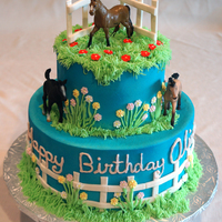 Olivia's Horse Cake VBC frosting, over Rainbow WASC. Fondant fence accents and the horses were supplied by the client. TFL.