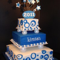 Blue & White Graduation Cake