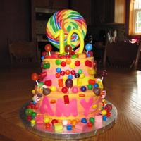 "Candy Cake 6"" and 8"" cake with buttercream icing....fondant letters and numbers with a ton of candy! tfl"