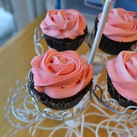 Rose Cupcake A chocolate GF cupcake with pink peppermint buttercream icing. Made for my mother's 65th birthday.