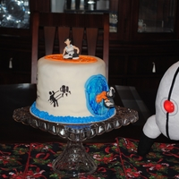 "Portal 2 Birthday Cake For my son's 18th birthday. (The turret next to the cake is a plush). ""Chell"" is made of gumpaste. MMF and buttercream, and..."