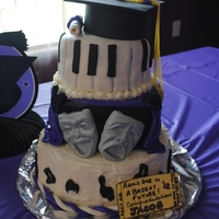 "Drama/music Graduation Cake Idea taken from Cake Central member Pandamas. Cake made for my son, who was in choir, drama and plays piano. 6"" oreo cookie cake..."