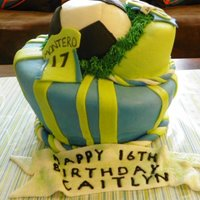 Seattle Sounders Topsy turvy for a Seattle Sounders fan. White Almond Sour Cream with Raspberry filling. Vanilla Buttercream, MMF.