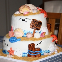 Seashell Beach Theme Cake