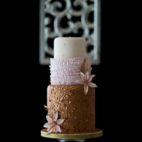 Gold Sequin Wedding Cake Gold sequin wedding cake