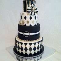 Harlequin Halloween Party Cake The client had just asked that the cake be tall, black, white & gold, some kind of diamond pattern and NO ruffles!!! This was the...