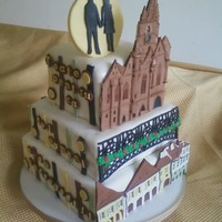 Romainian Wedding Cake I was asked )by the groom) to create a cake that included his fiance's town in Romania. It needed to include the Liar's Bridge,...