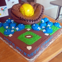 Soft Ball Team Cake This cake is a 3D glove on a field -- I completed it with chocolate caps with the girl's intitial