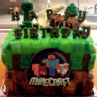 Mine Craft Cake For the Mine Craft Addict ---