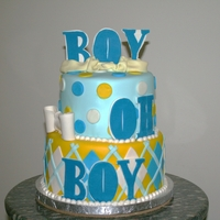 Boy Baby Shower   Vanilla cake with all sugar art and decorations
