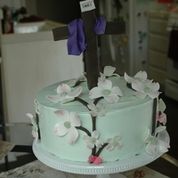Easter Cake First time making SMBC...yummy, handmade gumpaste dogwood flowers