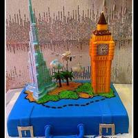 Farewell Suitcase Cake With Burj Khalifa And Big Ben   Farewell suitcase cake with Burj Khalifa and Big Ben