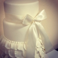 Weddings Three tier rose petal cake I got inspired by one I seem on a magazine.It's adorned with a simply perfect satin bow. # round wedding...