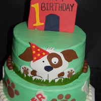 Puppy With Dog House BC icing with fondant accents and bone Smash cake