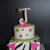 Zebra, Margaritta Party 2 tier round and square BC icing. Fondant letter J & Margaritta glasses
