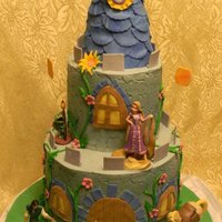 Tangled Castle Cake everything edible except the client had the toy figurines she wanted to use
